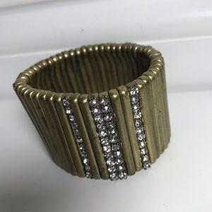 CHLOE & ISABEL Gold Crystal Stretch Cuff Bracelet